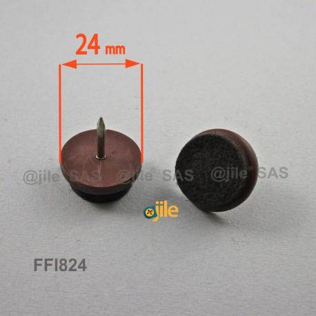 Sottosedia diam. 24 mm con feltro molto resistente rotondo di plastica con chiodo - MARRONE - Ajile