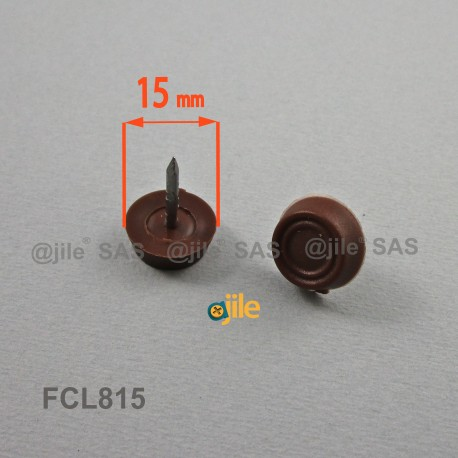 15 mm diam. Plastic nail on furniture glide BROWN  - Ajile
