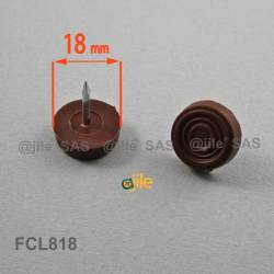 18 mm Plastic nail in furniture glide BROWN - Ajile 4