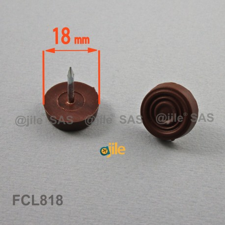 18 mm diam. Nagelgleiter mit Kunststoffgleitfläche - BRAUN - Ajile
