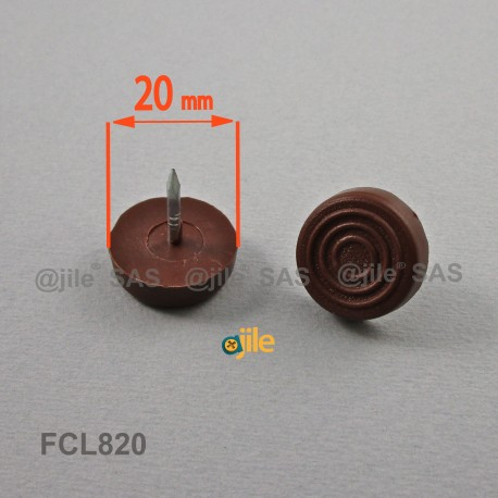 20 mm diam. Plastic nail on furniture glide BROWN - Ajile