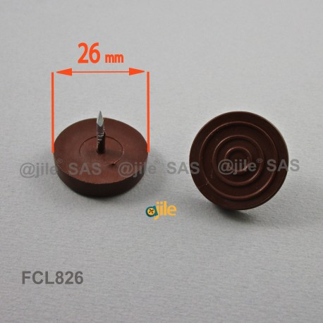26 mm diam. Plastic nail on furniture glide BROWN - Ajile