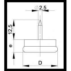 Sottosedia diam. 23 mm con acciaio rotondo di plastica con chiodo - Ajile