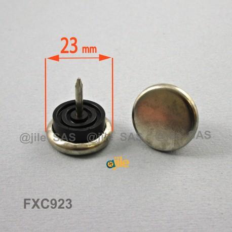 23 mm diam. Nagelgleiter mit Stahl vernickelte Gleitfläche - Kunststofpuffer - Ajile
