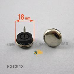 18 mm diam. Nagelgleiter mit Stahl vernickelte Gleitfläche - Kunststofpuffer - Ajile 3