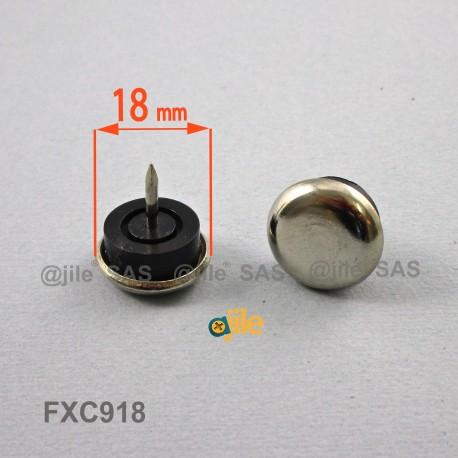 18 mm diam. Nagelgleiter mit Stahl vernickelte Gleitfläche - Kunststofpuffer - Ajile