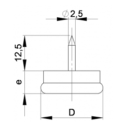 18 mm diam. Nagelgleiter mit Stahl vernickelte Gleitfläche - Kunststofpuffer - Ajile 4