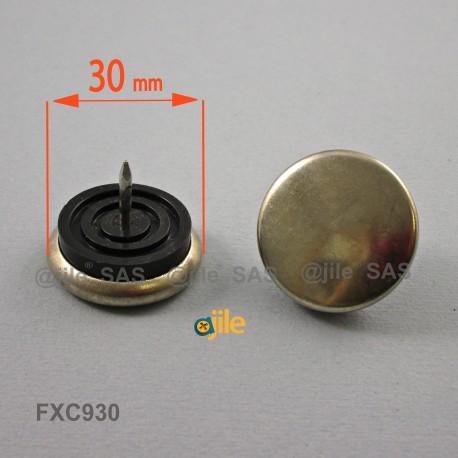 30 mm diam. Nagelgleiter mit Stahl vernickelte Gleitfläche - Kunststofpuffer - Ajile