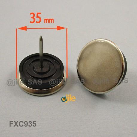 35 mm diam. Nagelgleiter mit Stahl vernickelte Gleitfläche - Kunststofpuffer - Ajile