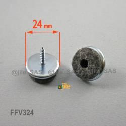 24 mm diam. Schraubengleiter mit Filzgleitfläche - GRAU