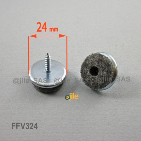 Patin à visser diam. 24 mm - Feutre GRIS - Ajile