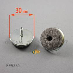 30 mm diam. Schraubengleiter mit Filzgleitfläche - GRAU