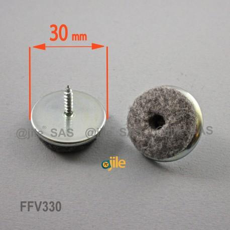 Patin à visser diam. 30 mm - Feutre GRIS - Ajile