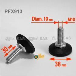 M10 x 30mm Nivellierfuss 38mm Diam - Gewinde: Stahl verzinkt, Fuss: Kunststoff