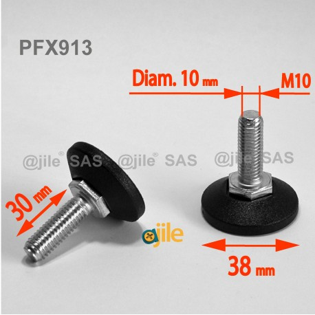 Piedino regolabile con vite M10 x 30 mm base 38mm - Acciaio zincato con piede di plastica - Ajile