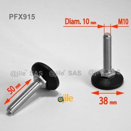 Piedino regolabile con vite M10 x 50 mm base 38mm - Acciaio zincato con piede di plastica - Ajile