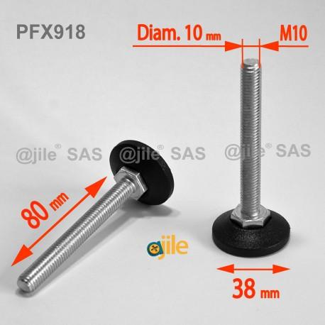 Piedino regolabile con vite M10 x 80 mm base 38mm - Acciaio zincato con piede di plastica - Ajile
