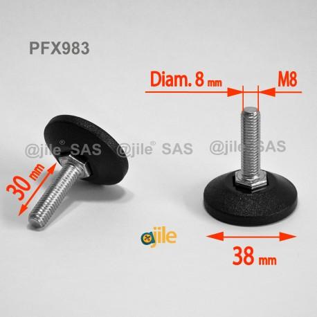 Piedino regolabile con vite M8 x 30 mm base 38mm - Acciaio zincato con piede di plastica - Ajile