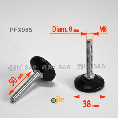 M8 L 50 mm Adjustable foot 38 mm base - Zinc plated steel with plastic base - Ajile