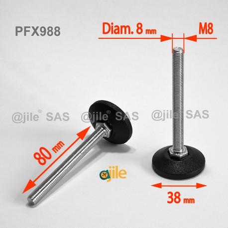 Piedino regolabile con vite M8 x 80 mm base 38mm - Acciaio zincato con piede di plastica - Ajile