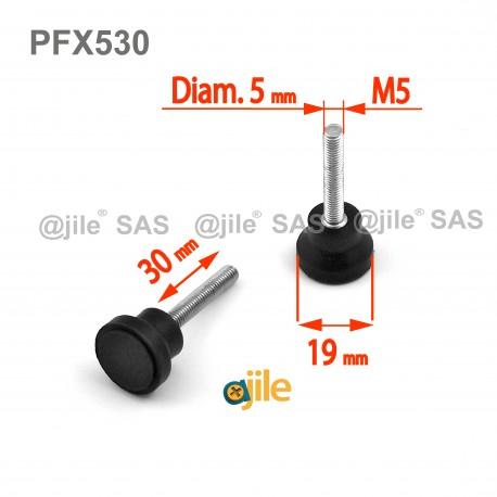 Pied réglable fileté M5 x 30 mm embase caoutchouc diam. 19 mm - Ajile