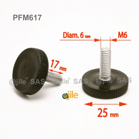 Piedino regolabile con vite M6 x 17 mm a base zigrinata (diam. 25 mm) - Acciaio zincato con piede di plastica. - Ajile