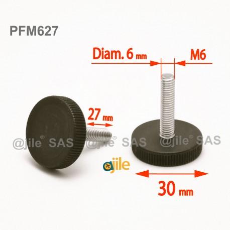 Piedino regolabile con vite M6 x 27 mm a base zigrinata (diam. 30 mm) - Acciaio zincato con piede di plastica. - Ajile