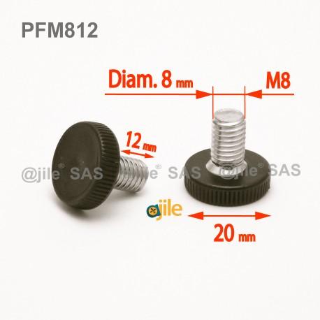 M8 x 12 mm Stellschrauben mit Kunststoff-Rändelfuß 20 mm Diam. - Gewinde: Stahl verzinkt, Grundkörper: Kunststoff SCHWARZ - Ajile