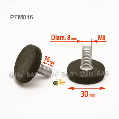 M8 x 16 mm Stellschrauben mit Kunststoff-Rändelfuß 30 mm Diam. - Gewinde: Stahl verzinkt, Grundkörper: Kunststoff SCHWARZ - Ajile