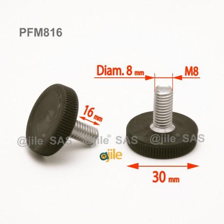 Piedino regolabile con vite M8 x 16 mm a base zigrinata (diam. 30 mm) - Acciaio zincato con piede di plastica. - Ajile