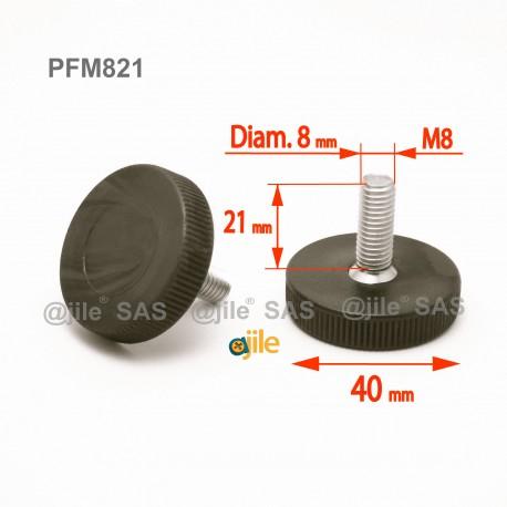 Piedino regolabile con vite M8 x 21 mm a base zigrinata (diam. 40 mm) - Acciaio zincato con piede di plastica. - Ajile