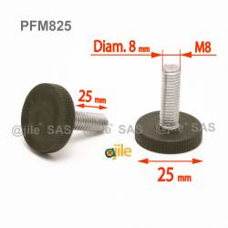 M8  L 25 mm Knurled adjustable foot - Zinc plated steel with plastic base - Ajile