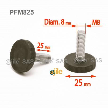 Piedino regolabile con vite M8 x 25 mm a base zigrinata (diam. 25 mm) - Acciaio zincato con piede di plastica. - Ajile