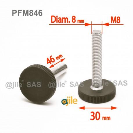 Piedino regolabile con vite M8 x 46 mm a base zigrinata (diam. 30 mm) - Acciaio zincato con piede di plastica. - Ajile