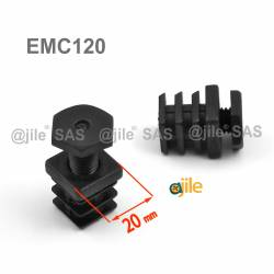 20 x 20 mm One-piece adjustable foot for square tube BLACK