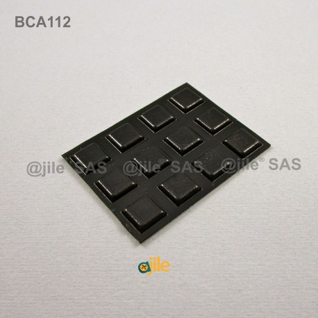 Square 10 mm Flat Bumper Stop - Adhesive BLACK - Thickness 2,5 mm - square-adhesive-bumper - ajile