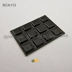 Square 13 mm Bumper Stop - Adhesive BLACK - Thickness 3 mm