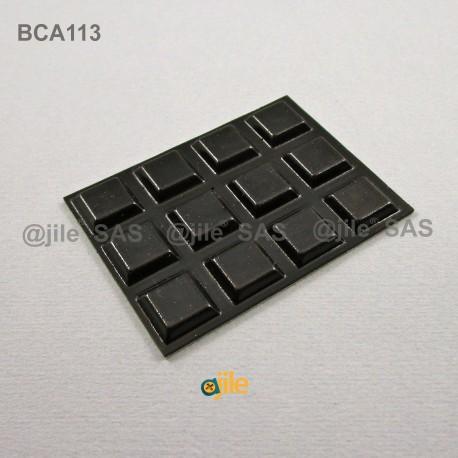 Piedino 12,7 x 3 mm quadrato adesivo - NERO - Ajile
