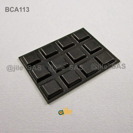 Square 13 mm Bumper Stop - Adhesive BLACK - Thickness 3 mm - Ajile
