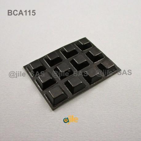 12.7 x 5.8 mm Viereckige selbsklebende antirutsch Gummifüsse - SCHWARZ - Ajile