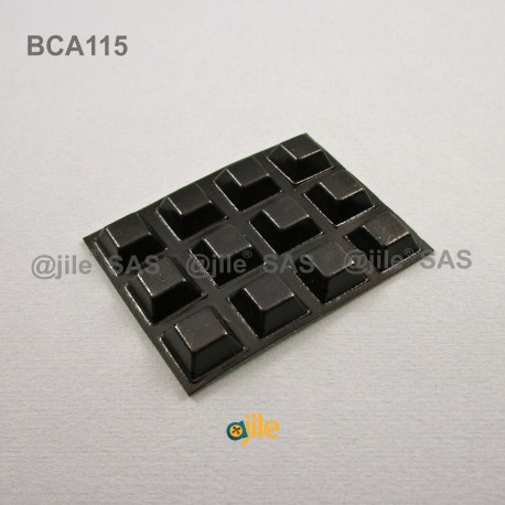 Pied Adhésif Carré Noir Épais 13 mm, épaisseur 6 mm - Ajile