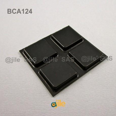 Pied Adhésif Carré Noir Plat 25 mm, épaisseur 4,6 mm - Ajile