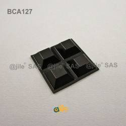 Square 20 mm Bumper Stop - Adhesive BLACK - Thickness 8 mm