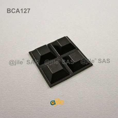Square 20 mm Bumper Stop - Adhesive BLACK - Thickness 8 mm - Ajile