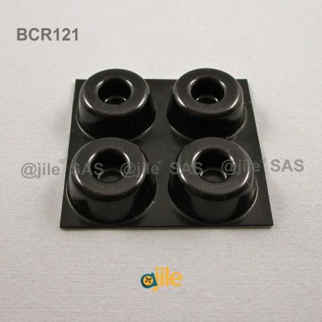 Pied Adhésif Couronne Noir diamètre 22 mm - Ajile