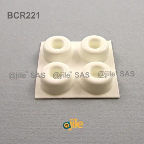 22.3 x 10.2 mm Zylindrisch vertieft selbsklebende antirutsch Gummifüsse - WEISS - Ajile