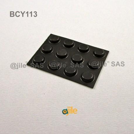 12.7 x 3.5 mm Zylindrisch selbsklebende antirutsch Gummifüsse - SCHWARZ - Ajile