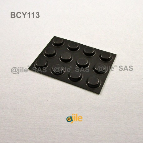 Bumper Stop diam. 13 mm Adhesive Round BLACK Thickness 3.5 mm - Ajile