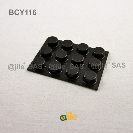 Piedino 12,7 x 6,4 mm cilindrico adesivo - NERO - Ajile