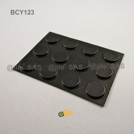 20.6 x 3 mm Zylindrisch selbsklebende antirutsch Gummifüsse - SCHWARZ - Ajile